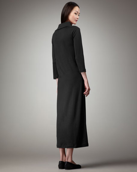 Petite Turtleneck Maxi Dress, Black