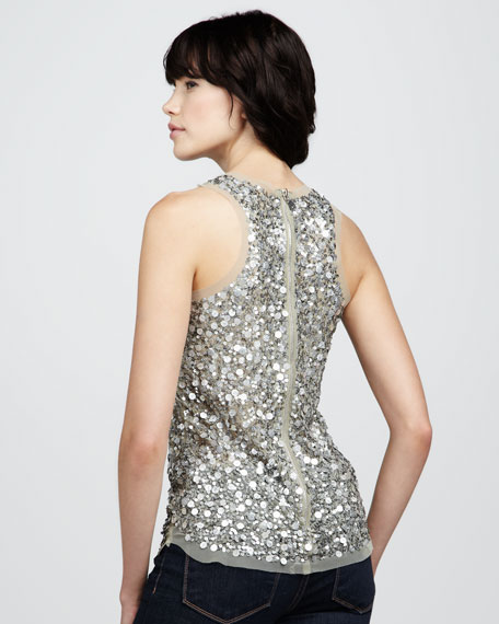Sequined Mesh Tank