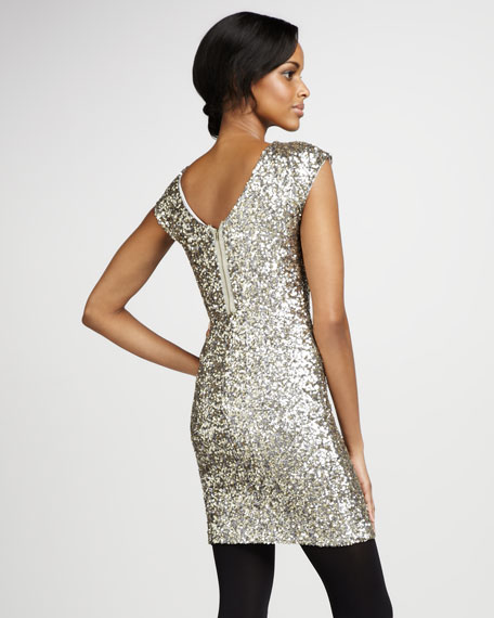 Amy Fitted Sequined Dress, Metal