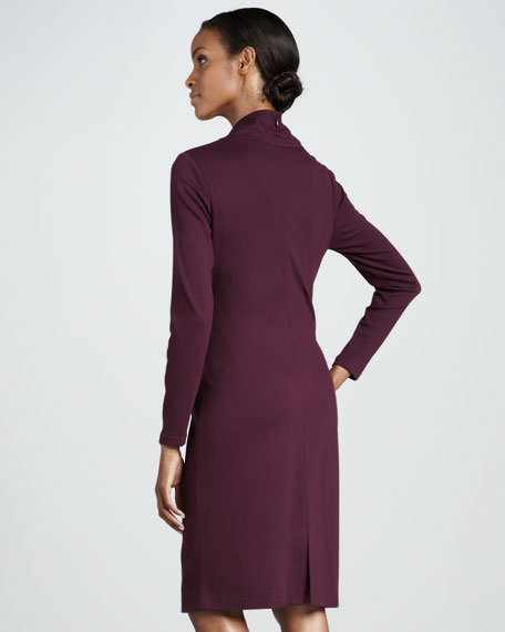 Ruched Mock-Neck Dress