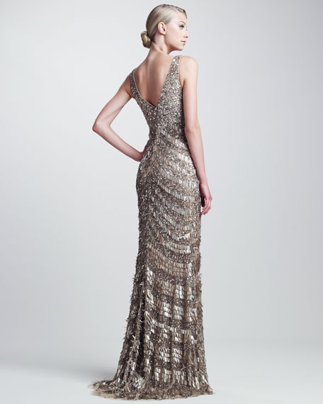 Sequined Deco Gown