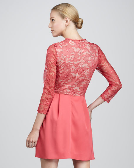 Lace-Top Fit-and-Flare Dress