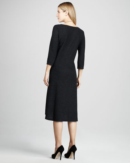 Wool Three-Quarter-Sleeve Dress