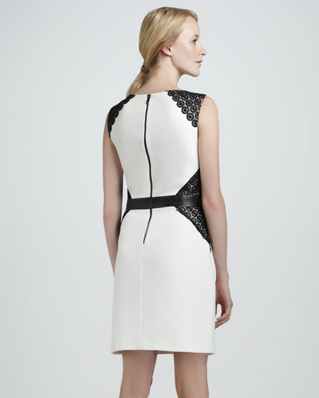 Colorblock-Lace Ponte Dress