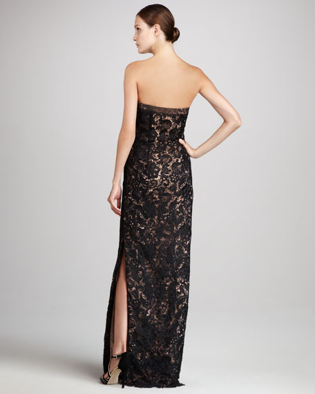 Venetian Lace Strapless Gown