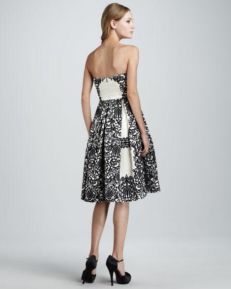 Strapless Lace-Print Dress