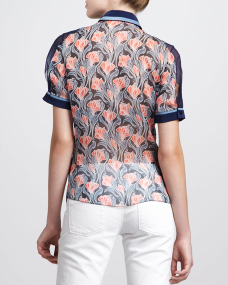 Floral-Print Chiffon Shirt