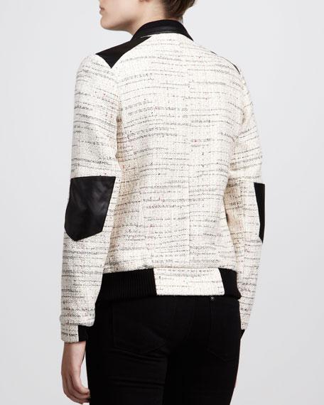 Leather-Trim Tweed Bomber Jacket