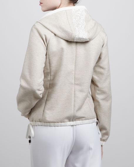Lace-Trimmed Hoodie, Oatmeal