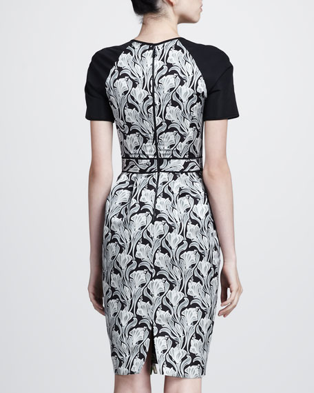 Abstract Floral-Print Taffeta Dress