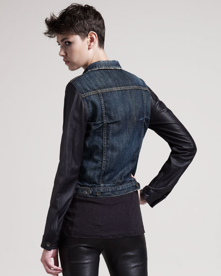 Distressed Leather-Sleeve Jean Jacket
