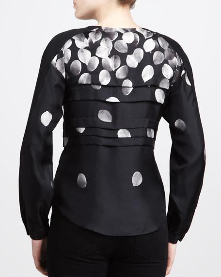 Petal-Print Pleated Shirt