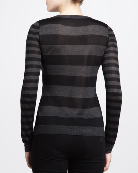 Striped Crewneck Sweater, Gray/Black