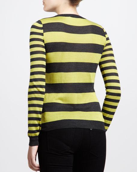 Striped Crewneck Sweater, Gray/Citron