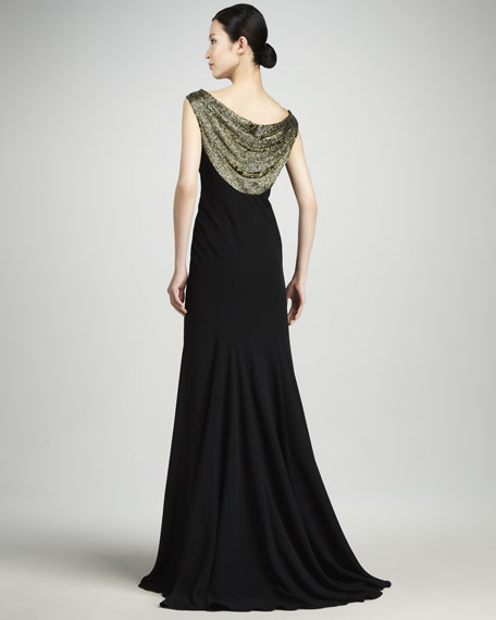 Beaded Cowl-Neck Crepe Gown