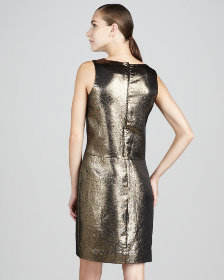 vannie ruffled metallic dress