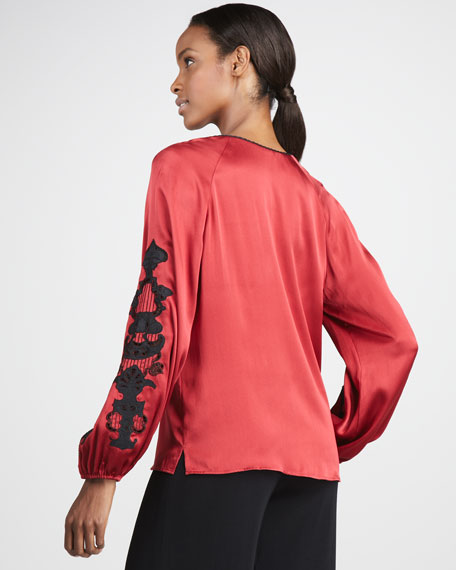 Embroidered Silk Blouse, Women's