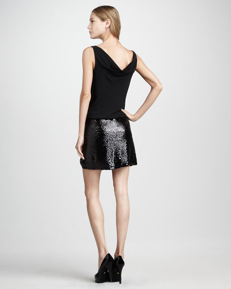 Tadd Sequin-Skirt Dress, Black