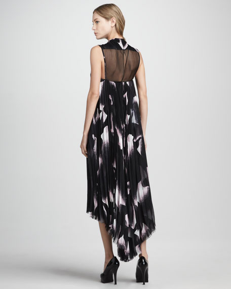 Mona Printed Pleated Trapeze Dress