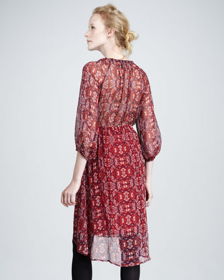 Aura Printed-Chiffon Dress