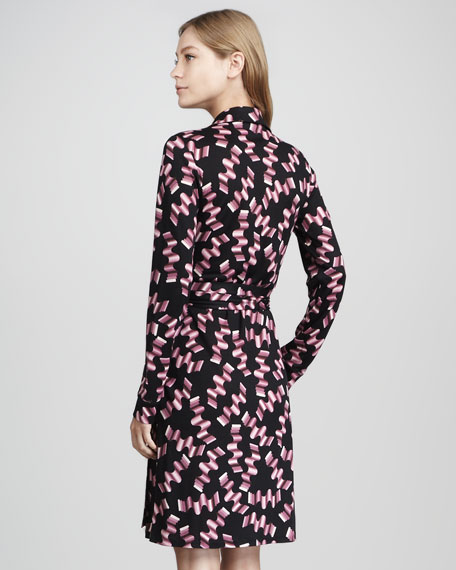 New Jeanne Wrap Dress, Icy Pink Wavy Print