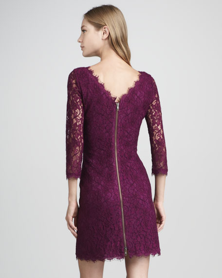 Zarita Lace V-Back Dress, Beet