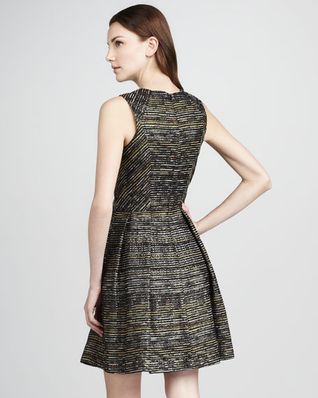 Bridgette Metallic Full-Skirt Dress