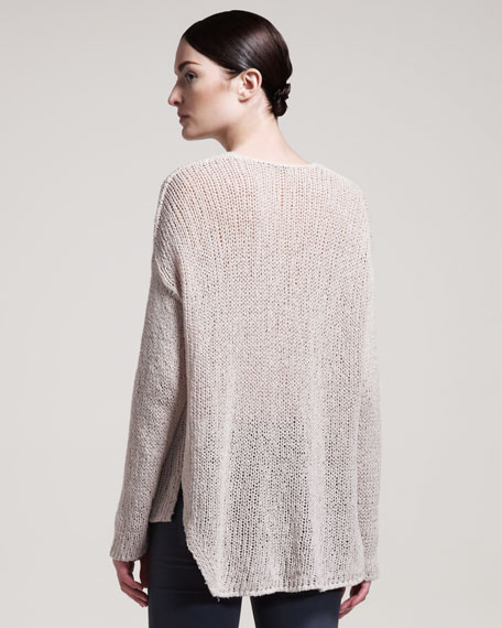 Looped V-Neck Pullover, Warm Beige