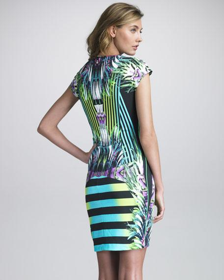 Printed Scoop-Neck Dress