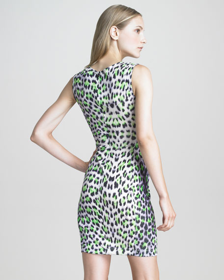 Sleeveless Twist-Front Leopard-Print Dress