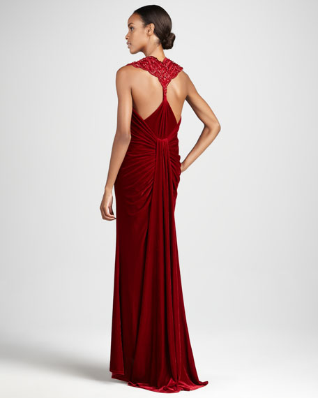 Sleeveless Ruched Gown with Back Detail