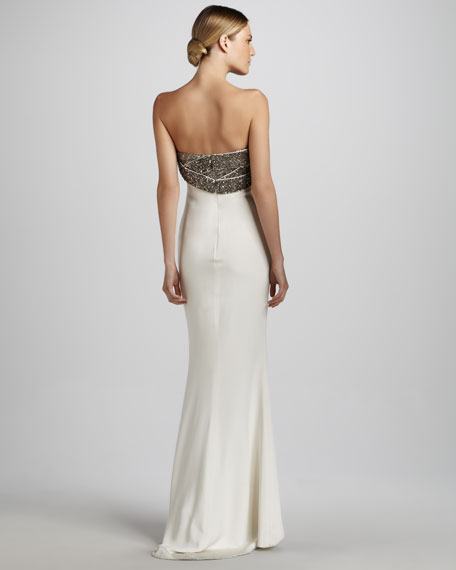 Strapless Gown with Embroidered Bodice