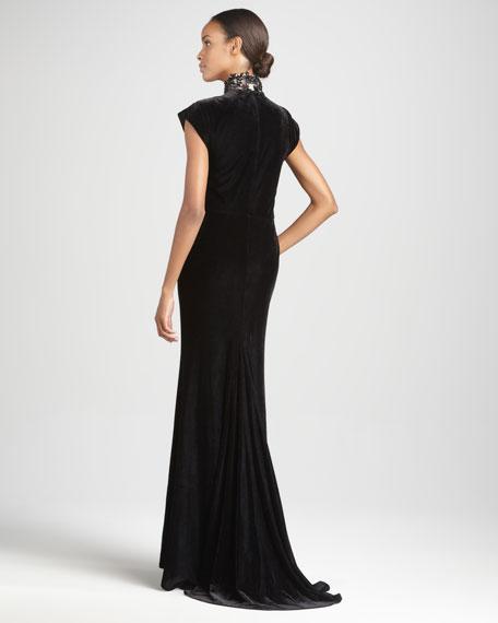 Cap-Sleeve Velvet Gown