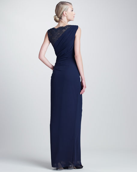 Draped Lace-Bust Gown