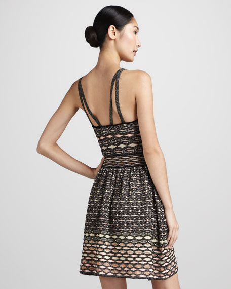Honeycomb Metallic Split-Strap Dress