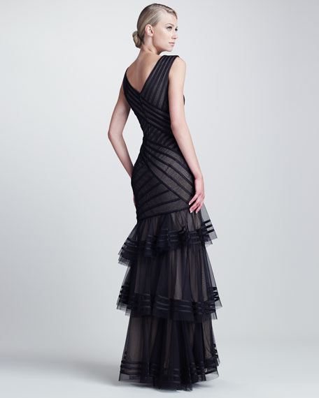 Tiered Crisscross Gown