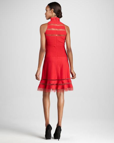 Sleeveless Illusion-Detail Cocktail Dress