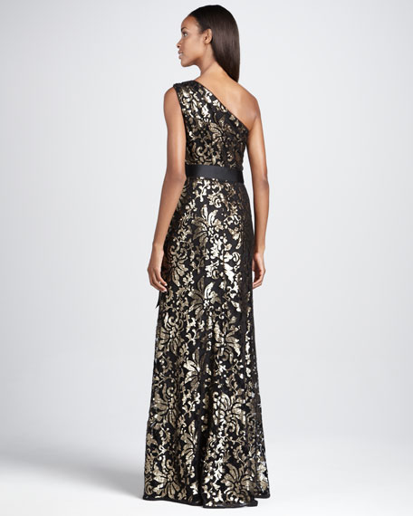 One-Shoulder Sequined Gown