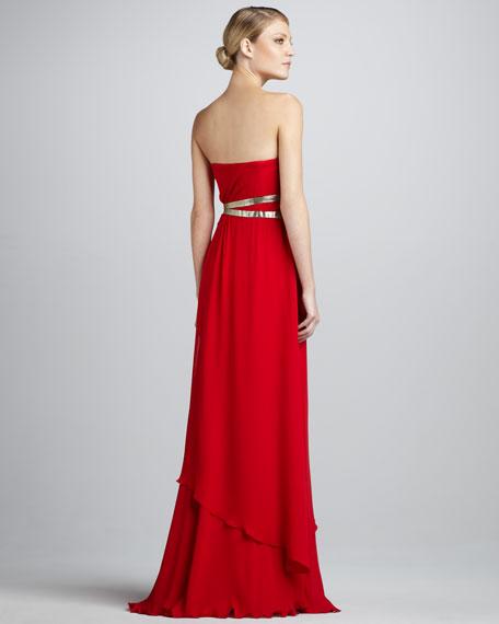 Foil-Belt Strapless Gown