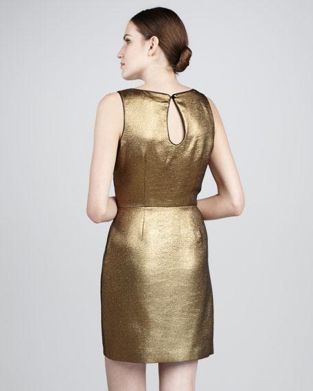 Metallic Pleated Dress