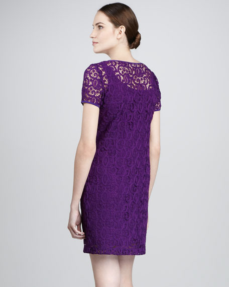 Lace Short-Sleeve Dress