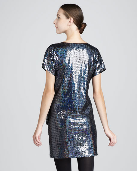 Gathered Sequin Dress