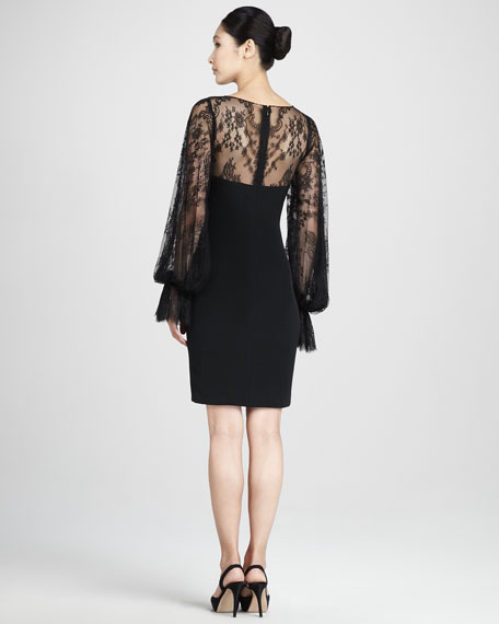 Lace-Overlay Bateau Cocktail Dress