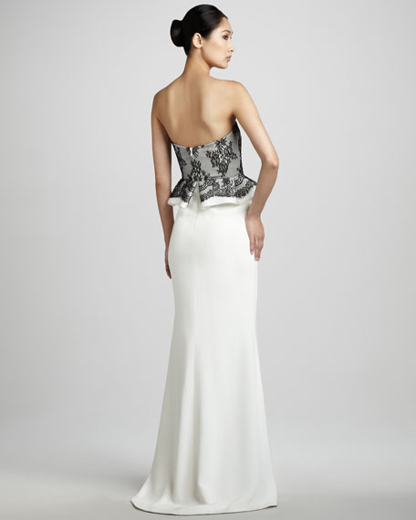 Strapless Lace-Top Gown