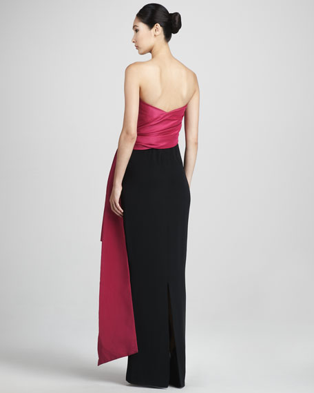 Draped Colorblock Gown