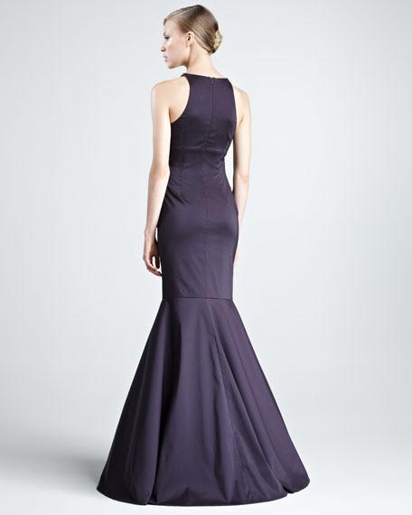 Beaded-Neck Taffeta Gown