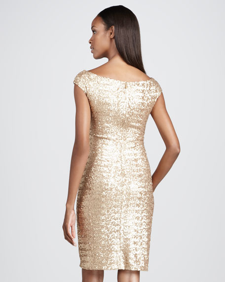 Cap-Sleeve Sequined Cocktail Dress