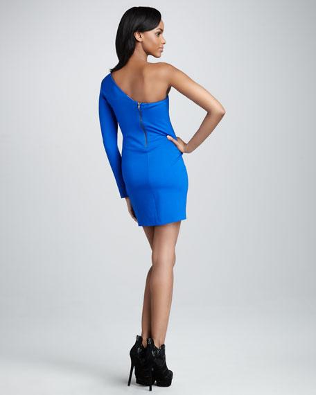 Ruffled Single-Sleeve Dress