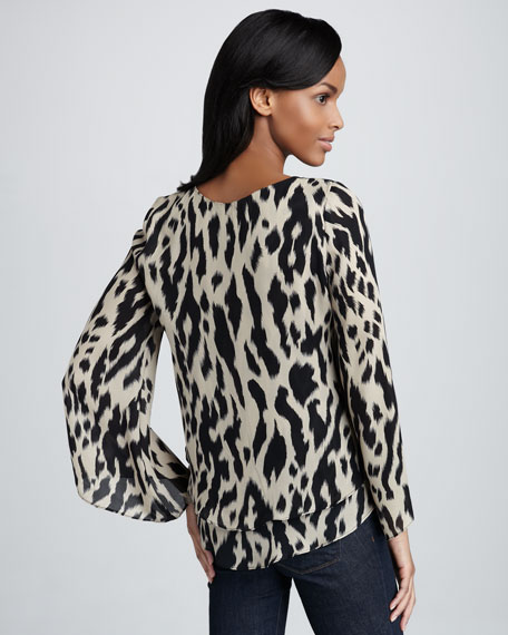 Leopard-Print Silk Top