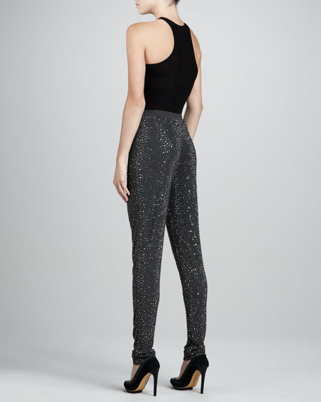Crystal-Stud Jersey Pants, Graphite